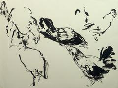 French Ink Wash - Les Poules