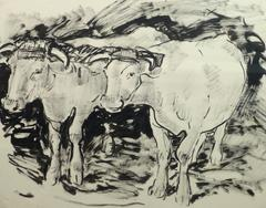 French Ink Wash - Work Cattle