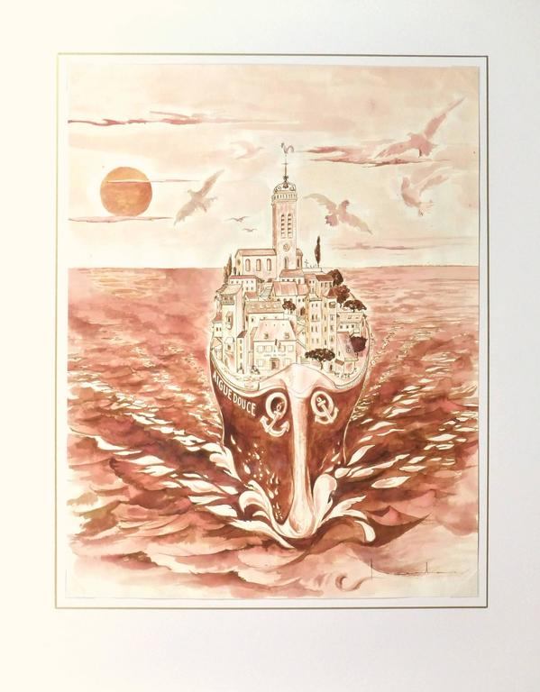 Fanciful watercolor in warm red and orange hues of a charming town perched atop a large ship, circa 1990. Signed lower right.   Original artwork on paper displayed on a white mat with a gold border. Archival plastic sleeve and Certificate of