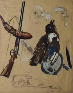 French Gouache - A Huntsman's Study