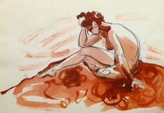 French Ink & Pencil - Red Nude