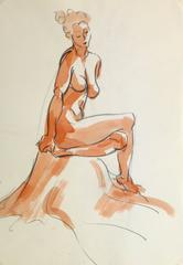 French Pencil & Ink - Seated Nude