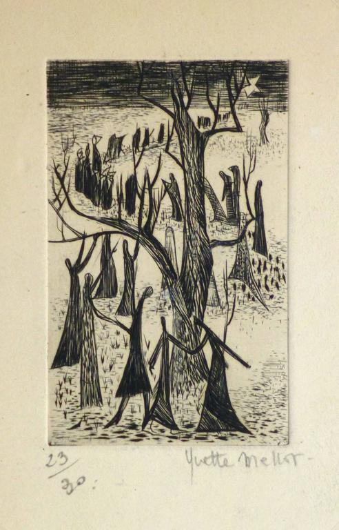 French Etching - The Tree People