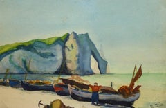 French Watercolor - Cliffs of Etretat