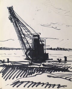 Ink Drawing -  Harbor Crane