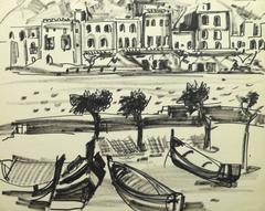 French Ink Drawing - Waterfront Villas