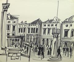 French Ink Drawing - Busy Streets