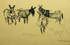 French Ink Painting - Les Mules dans le Champ