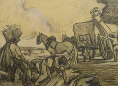 French Pencil Drawing - The Hay Harvest