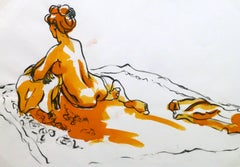 French Ink & Watercolor - Orange Nude