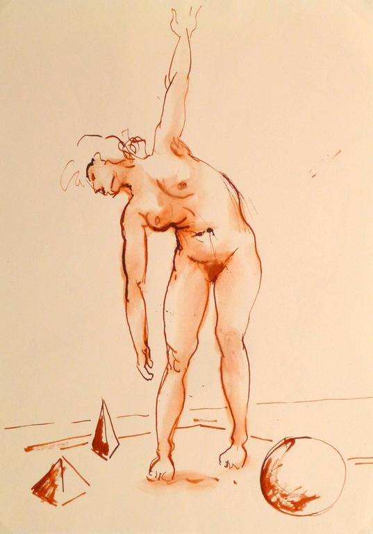 French Watercolor & Ink - Crimson Nude - Art by Jean-Baptiste Grancher