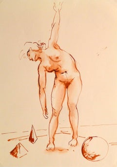 French Watercolor & Ink - Crimson Nude