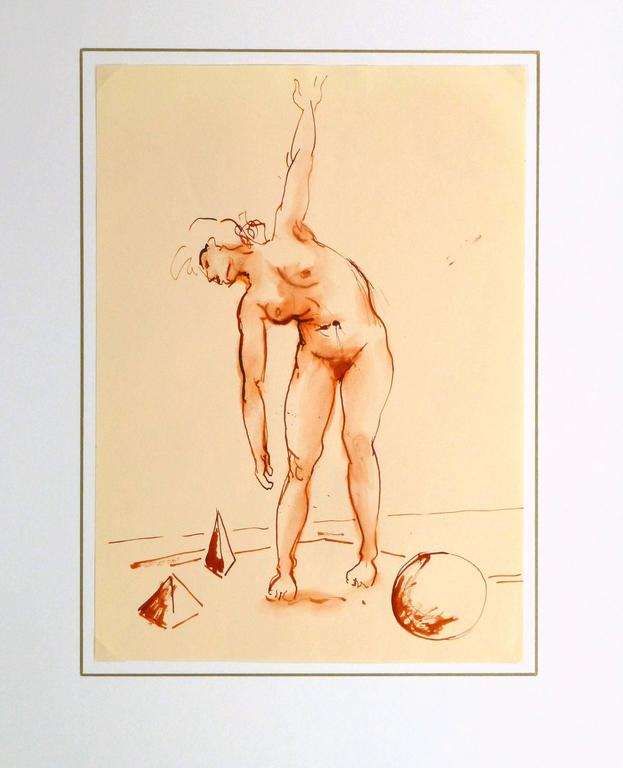 French Watercolor & Ink - Crimson Nude For Sale 2