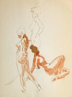French Watercolor & Ink - Three Poses