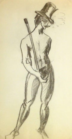 Charcoal Drawing - Dapper Nude