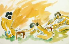 Ink & Watercolor Nude - Trio of Angles