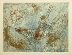 French Abstract Etching - Industrial Gold