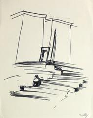 Unknown - Ink Drawing - Egyptian Steps to Temple