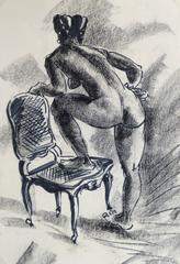 Ink & Charcoal Drawing - Nude with Chair