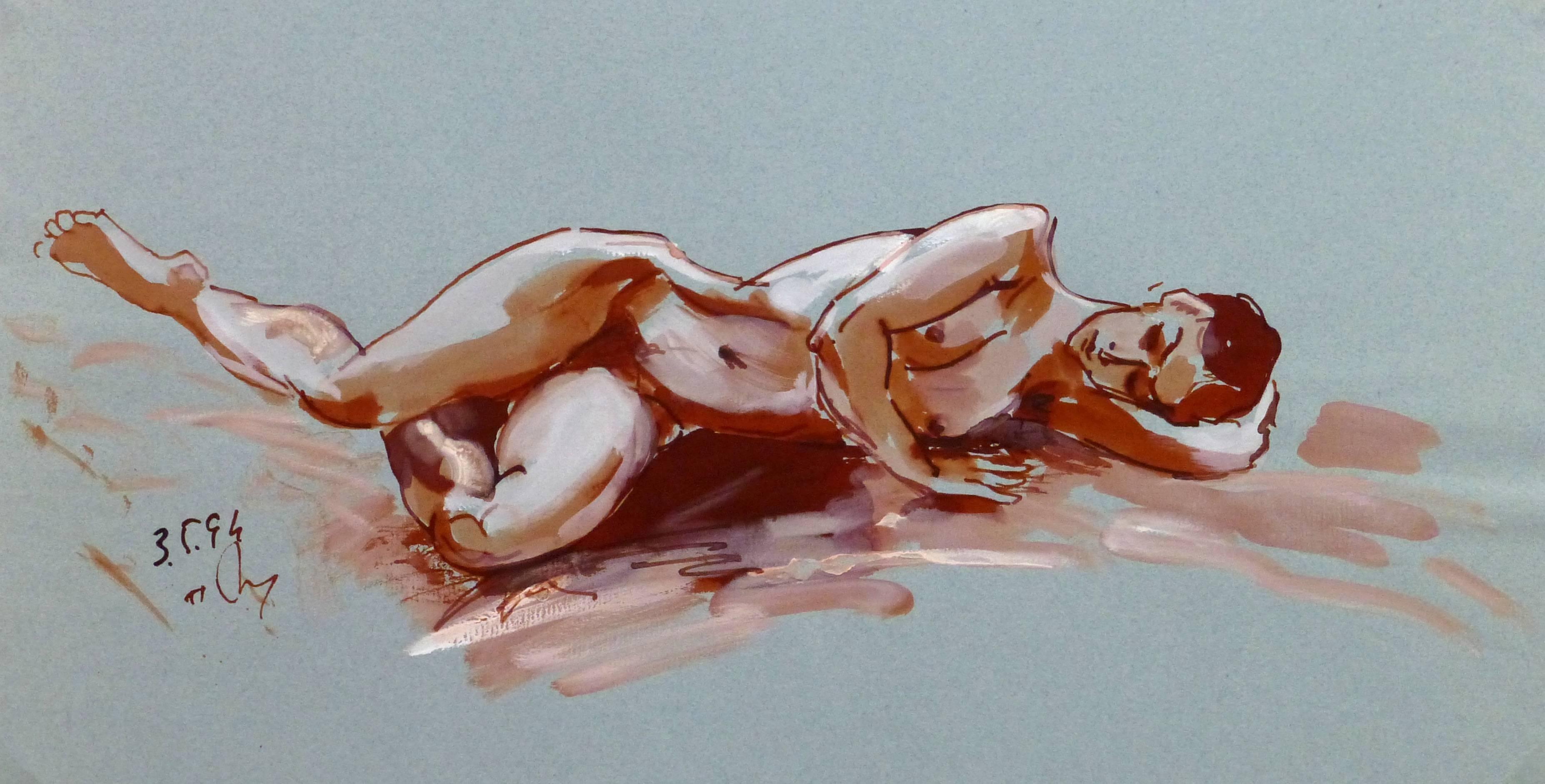 Watercolor & Ink Nude
