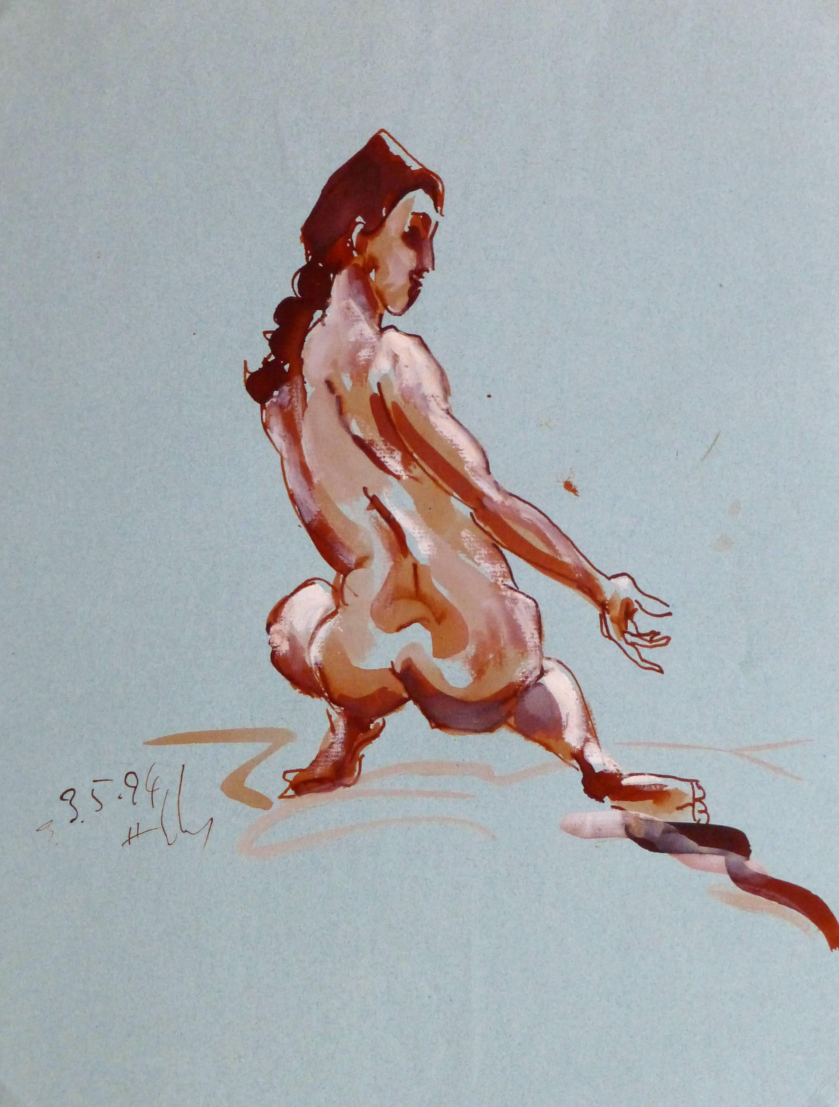 French Watercolor & Ink Nude