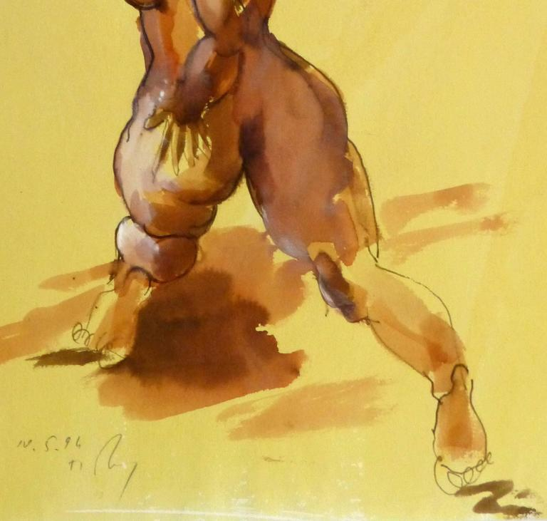 Watercolor and Ink Nude - Beauty - Orange Nude Painting by Kei Mitsuuchi
