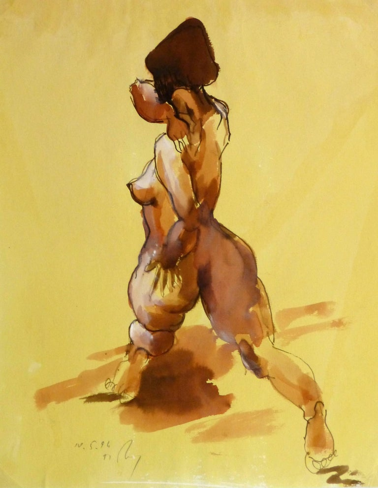 Kei Mitsuuchi Nude Painting - Watercolor and Ink Nude - Beauty