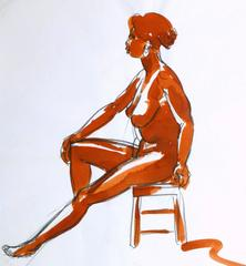 Charcoal & Ink Wash - Nude Drawing