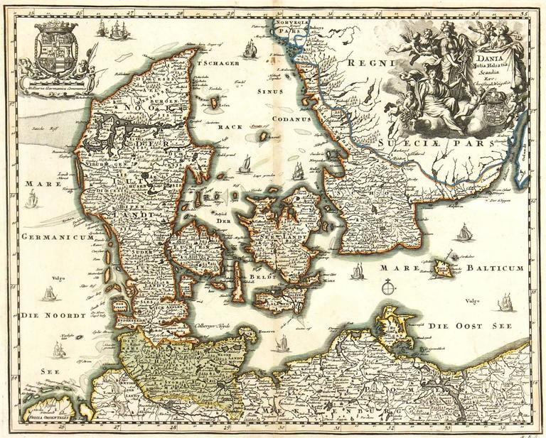 Map of Denmark,  1724
