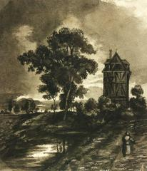 Antique German Countryside Landscape Painting