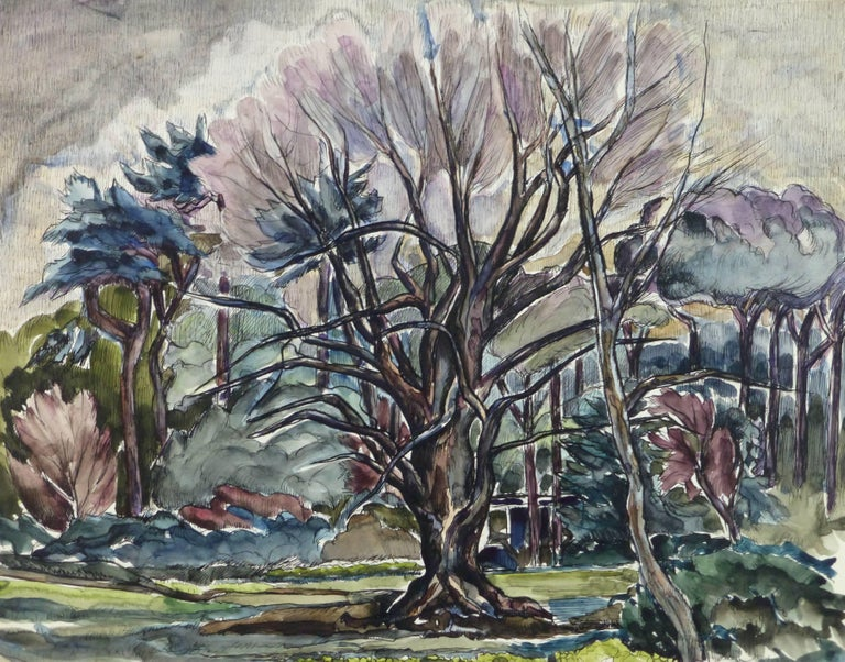 Unknown Landscape Art - French Tree Landscape Painting