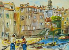 Vintage Mediterranean Port and Boats Landscape Painting