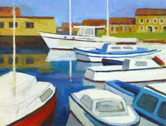 Vintage French Boat and Marina Landscape Painting