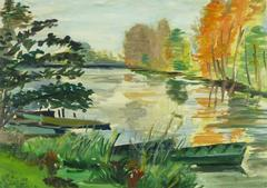French Landscape Painting of Lake