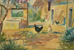 French Farm Landscape Watercolor