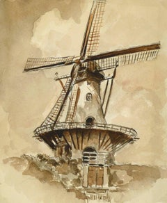 Windmill Watercolor Painting