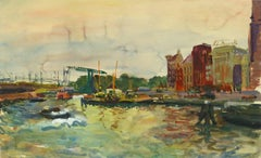 Vintage French Waterfront Landscape Painting