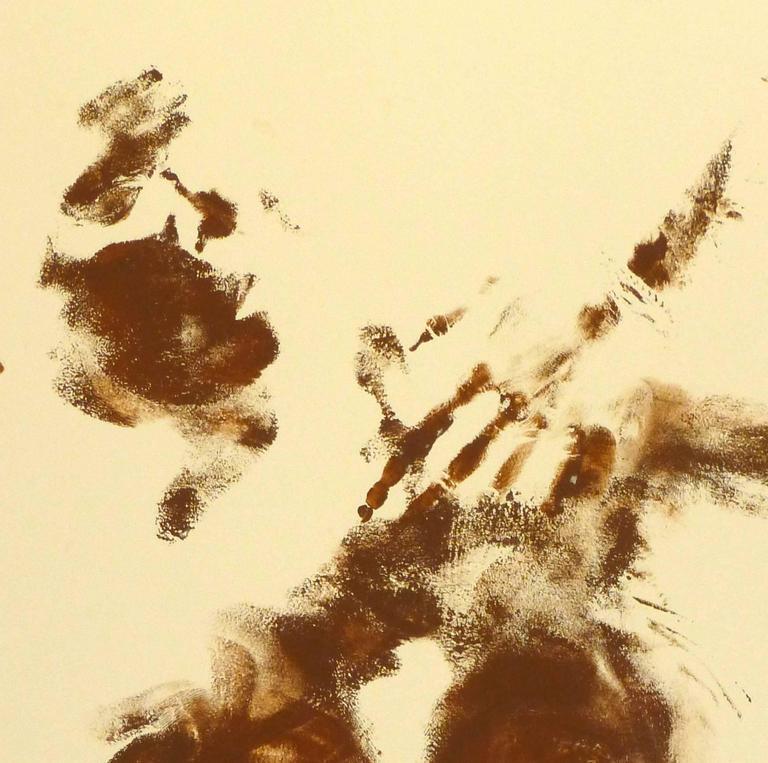 Abstract Nude Body Art Painting - Orange Nude Painting by Kismine Varner