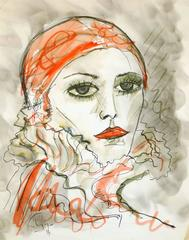 French Ink Wash of Lady in Red Head Scarf