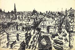 Paris Skyline Pen Drawing