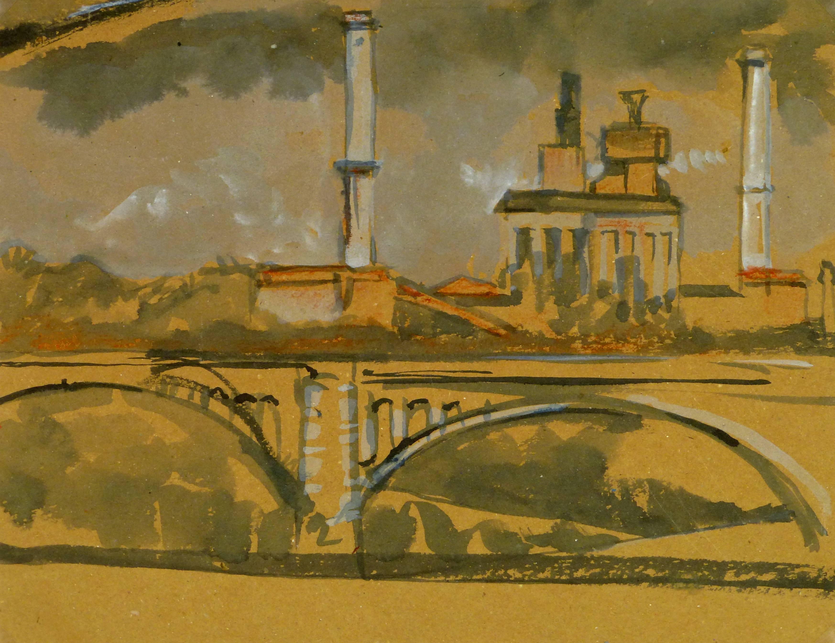 Industrial French Skyline with Bridge