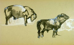 Black & White Ink Wash of Cattle