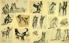 French Ink Wash of Dogs