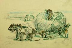 Horses and Hay Wagon Ink Drawing