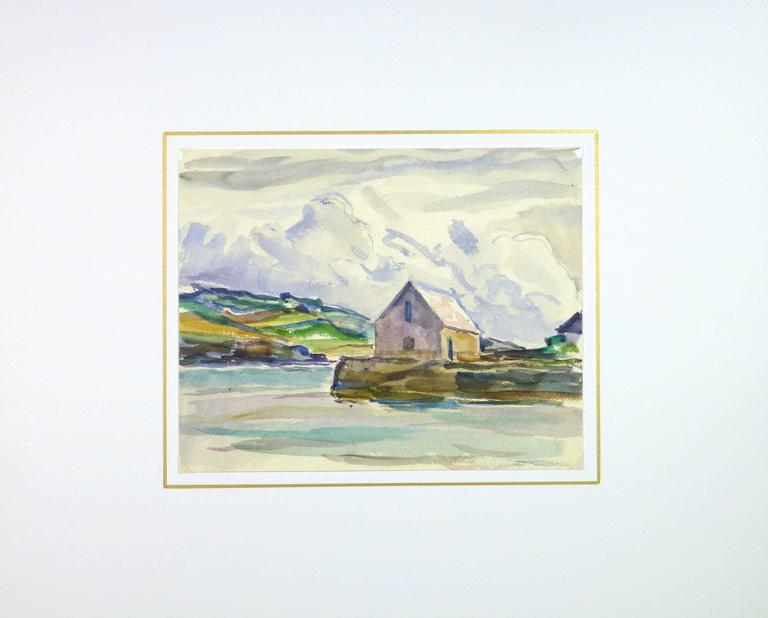 House by the Water - Beige Landscape Art by C. Groux
