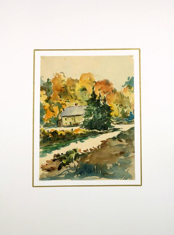 House in the Trees - Brown Landscape Art by Unknown