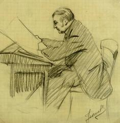 Man Reading at Desk