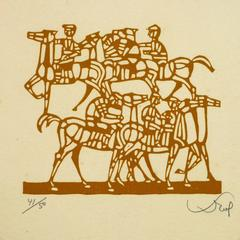 Woodcut of Horses and Riders