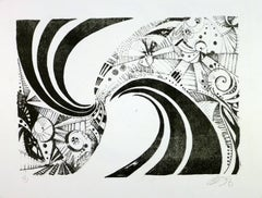 Modern Black and White Abstract Spiral
