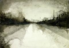 Modern Abstract French Ink Wash